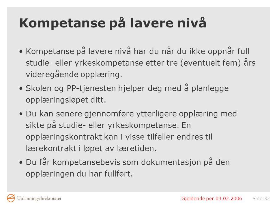 Gjeldende per 03.02.2006Side 32 Kompetanse på lavere nivå Kompetanse på lavere nivå har du når du ikke oppnår full studie- eller yrkeskompetanse etter