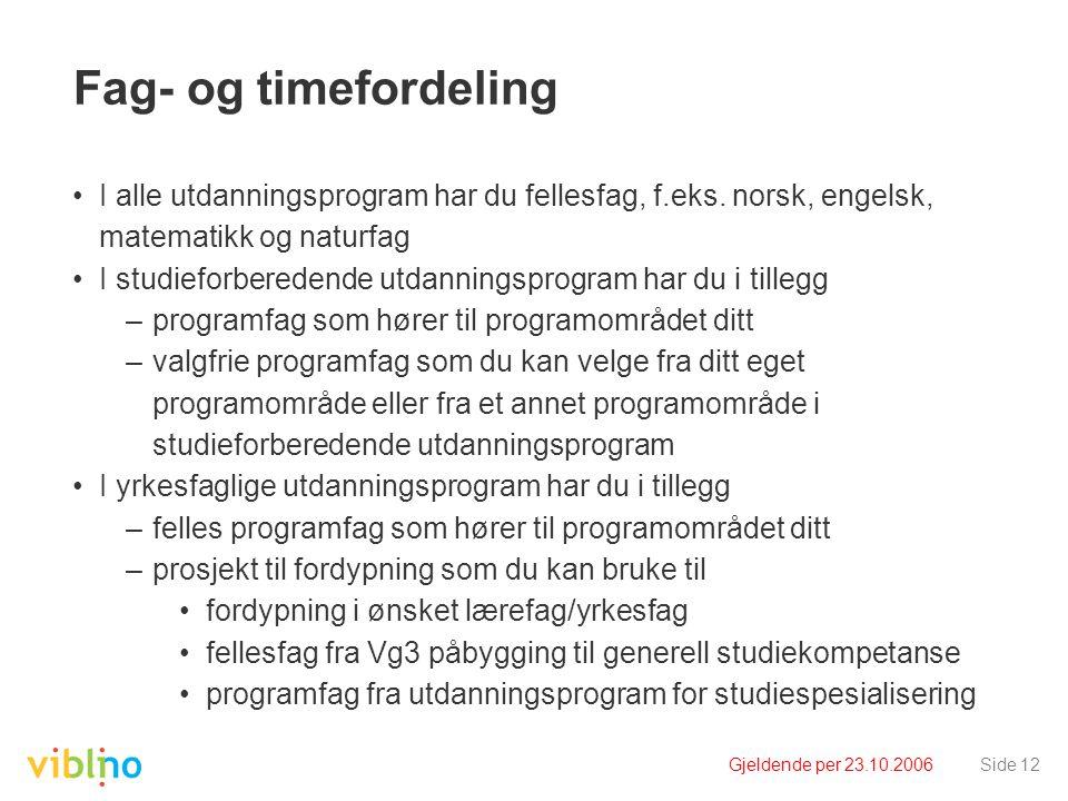 Gjeldende per 23.10.2006Side 12 Fag- og timefordeling I alle utdanningsprogram har du fellesfag, f.eks.