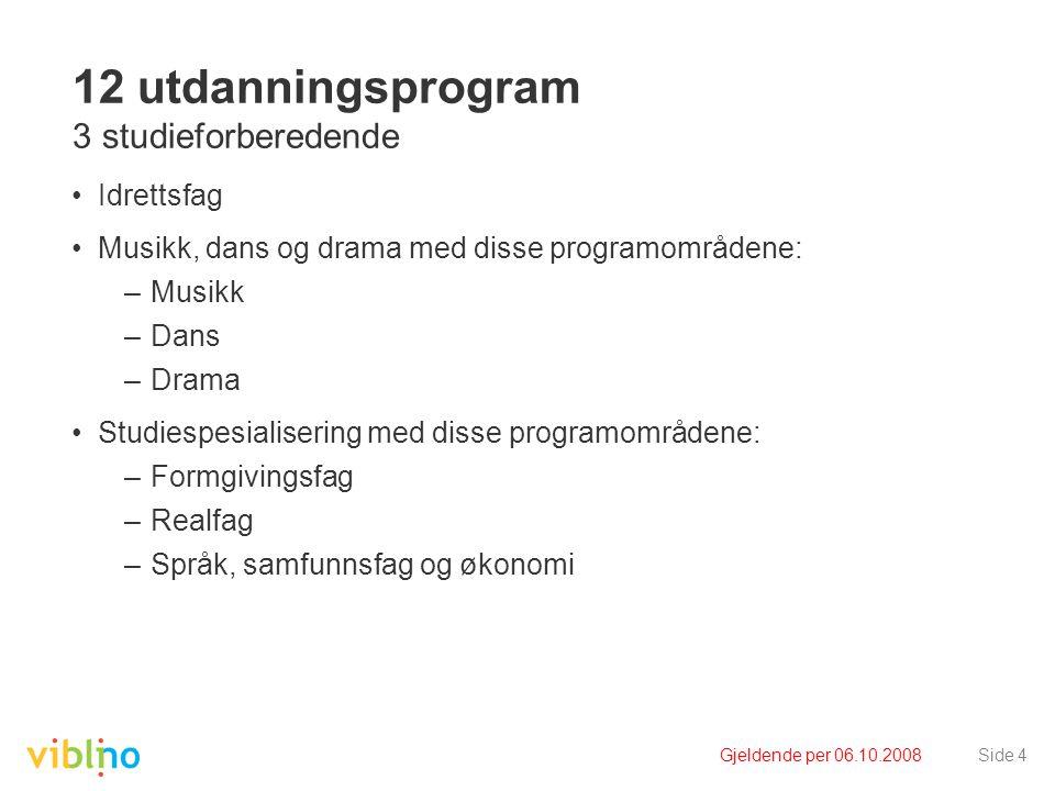 Gjeldende per 06.10.2008Side 4 12 utdanningsprogram 3 studieforberedende Idrettsfag Musikk, dans og drama med disse programområdene: –Musikk –Dans –Dr