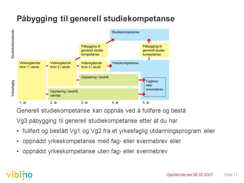 Gjeldende per 06.02.2007Side 11 Påbygging til generell studiekompetanse Generell studiekompetanse kan oppnås ved å fullføre og bestå Vg3 påbygging til