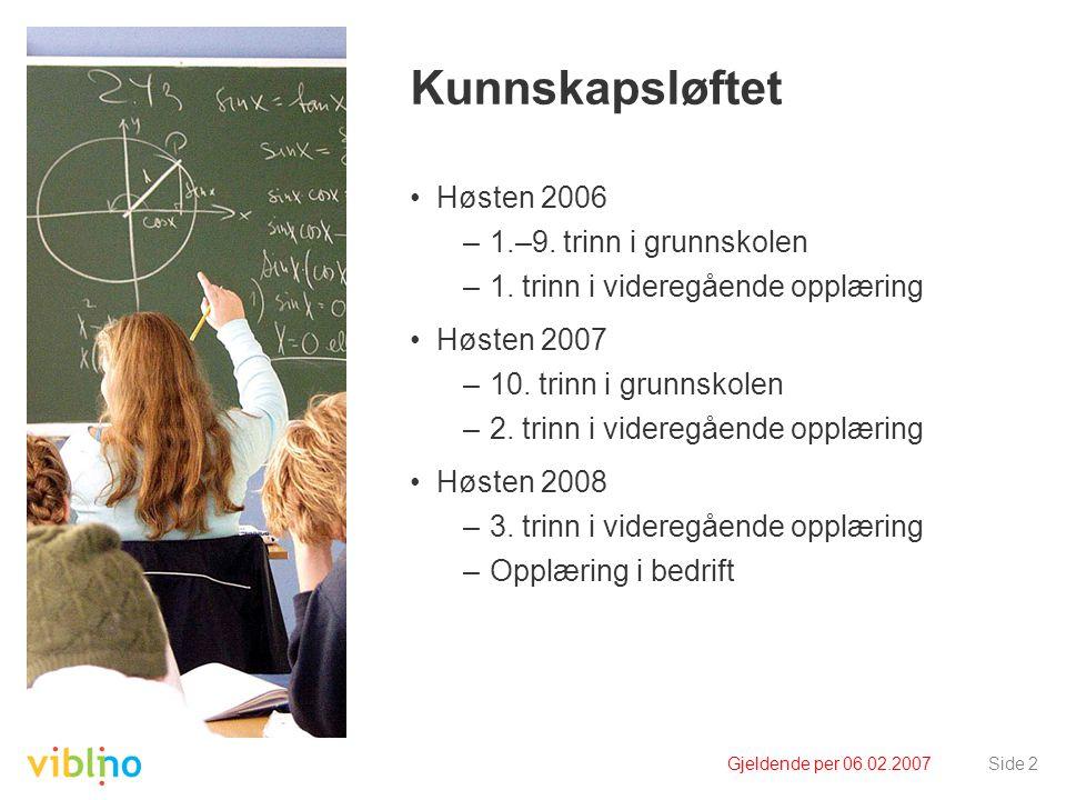 Gjeldende per 06.02.2007Side 2 Kunnskapsløftet Høsten 2006 –1.–9. trinn i grunnskolen –1. trinn i videregående opplæring Høsten 2007 –10. trinn i grun