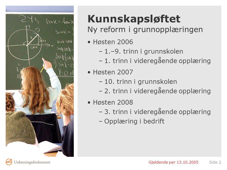 Gjeldende per 13.10.2005Side 2 Kunnskapsløftet Ny reform i grunnopplæringen Høsten 2006 –1.–9. trinn i grunnskolen –1. trinn i videregående opplæring