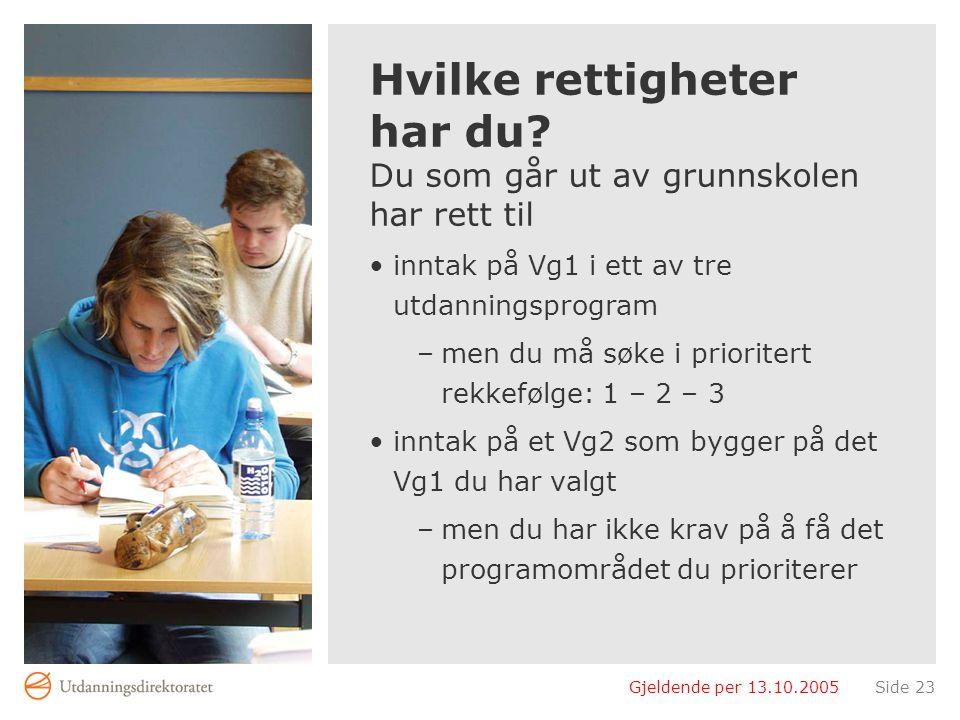 Gjeldende per 13.10.2005Side 23 Hvilke rettigheter har du? Du som går ut av grunnskolen har rett til inntak på Vg1 i ett av tre utdanningsprogram –men