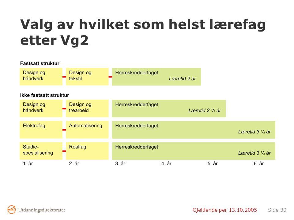 Gjeldende per 13.10.2005Side 30 Valg av hvilket som helst lærefag etter Vg2