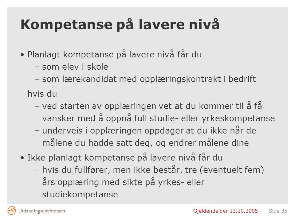 Gjeldende per 13.10.2005Side 35 Kompetanse på lavere nivå Planlagt kompetanse på lavere nivå får du –som elev i skole –som lærekandidat med opplærings