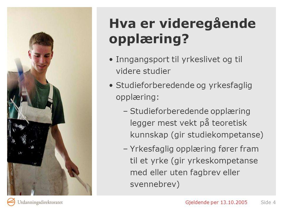 Gjeldende per 13.10.2005Side 4 Hva er videregående opplæring? Inngangsport til yrkeslivet og til videre studier Studieforberedende og yrkesfaglig oppl