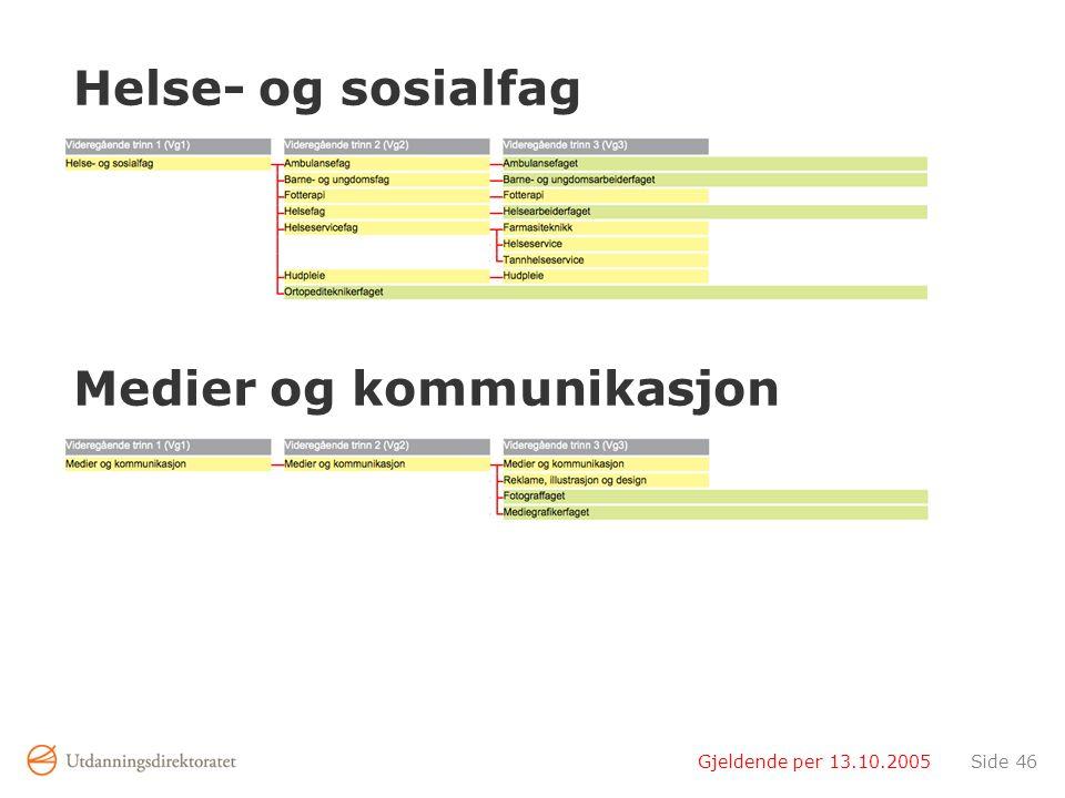 Gjeldende per 13.10.2005Side 46 Helse- og sosialfag Medier og kommunikasjon