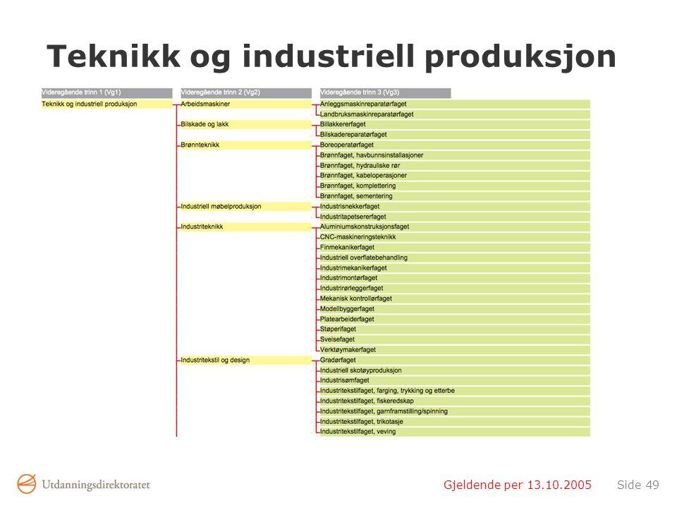Gjeldende per 13.10.2005Side 49 Teknikk og industriell produksjon