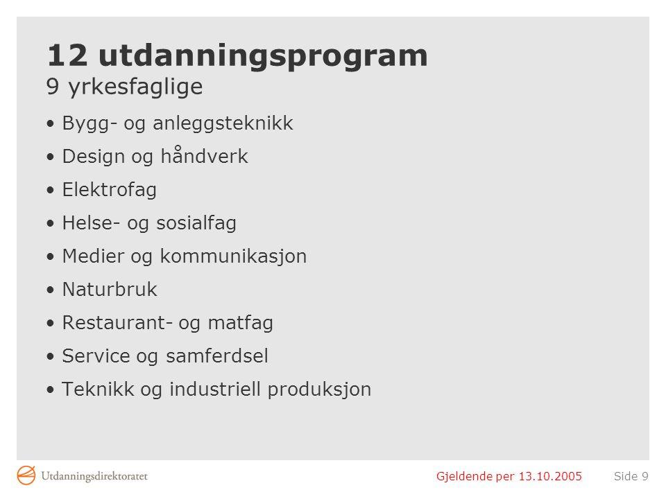 Gjeldende per 13.10.2005Side 9 12 utdanningsprogram 9 yrkesfaglige Bygg- og anleggsteknikk Design og håndverk Elektrofag Helse- og sosialfag Medier og