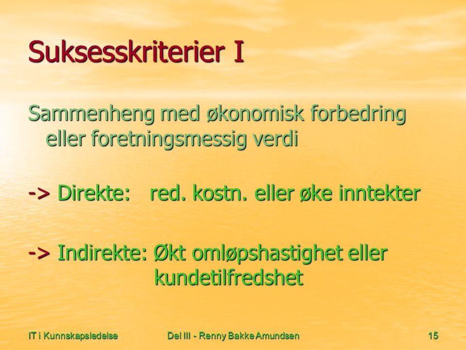 IT i KunnskapsledelseDel III - Renny Bakke Amundsen15 Suksesskriterier I Sammenheng med økonomisk forbedring eller foretningsmessig verdi -> Direkte: red.