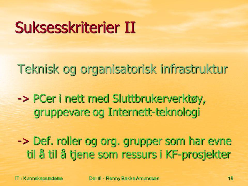 IT i KunnskapsledelseDel III - Renny Bakke Amundsen16 Suksesskriterier II Teknisk og organisatorisk infrastruktur -> PCer i nett med Sluttbrukerverktøy, gruppevare og Internett-teknologi -> Def.