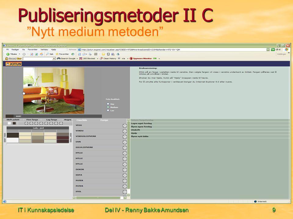 IT i KunnskapsledelseDel IV - Renny Bakke Amundsen9 Nytt medium metoden Publiseringsmetoder II C