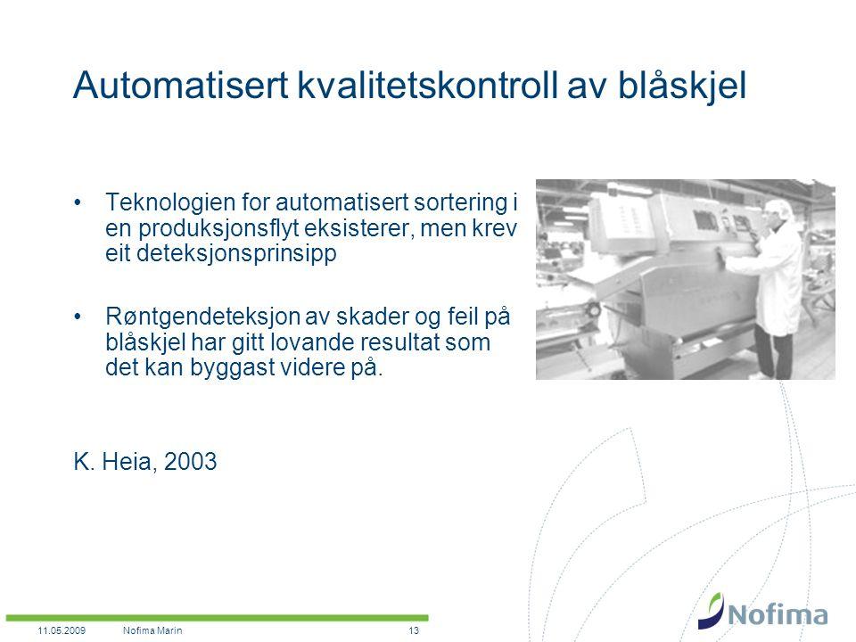 11.05.2009Nofima Marin13 Automatisert kvalitetskontroll av blåskjel Teknologien for automatisert sortering i en produksjonsflyt eksisterer, men krev eit deteksjonsprinsipp Røntgendeteksjon av skader og feil på blåskjel har gitt lovande resultat som det kan byggast videre på.