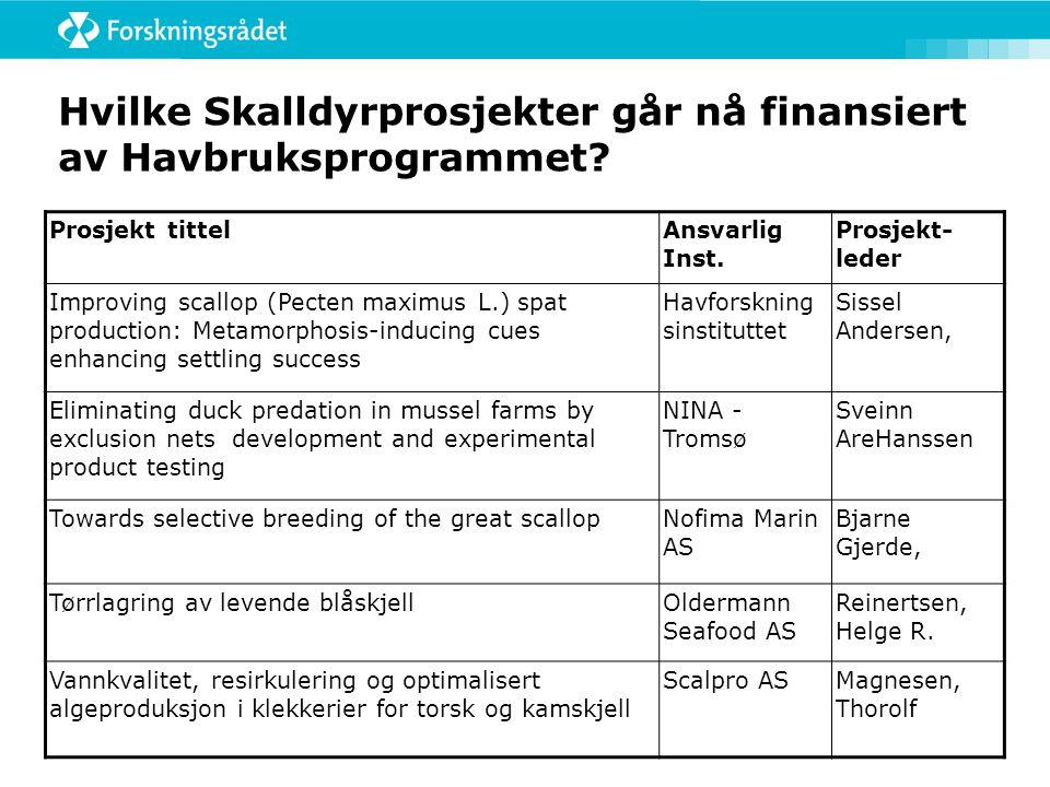 Hvilke Skalldyrprosjekter går nå finansiert av Havbruksprogrammet? Prosjekt tittelAnsvarlig Inst. Prosjekt- leder Improving scallop (Pecten maximus L.