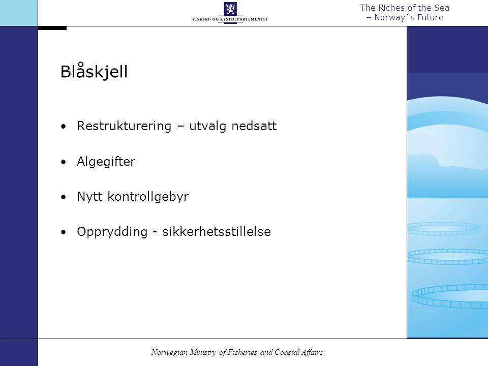 Norwegian Ministry of Fisheries and Coastal Affairs The Riches of the Sea – Norway`s Future Blåskjell Restrukturering – utvalg nedsatt Algegifter Nytt kontrollgebyr Opprydding - sikkerhetsstillelse