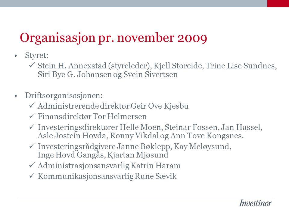Organisasjon pr. november 2009 Styret: Stein H. Annexstad (styreleder), Kjell Storeide, Trine Lise Sundnes, Siri Bye G. Johansen og Svein Sivertsen Dr