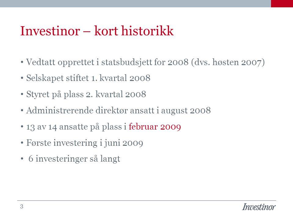 Investinor – kort historikk Vedtatt opprettet i statsbudsjett for 2008 (dvs. høsten 2007) Selskapet stiftet 1. kvartal 2008 Styret på plass 2. kvartal