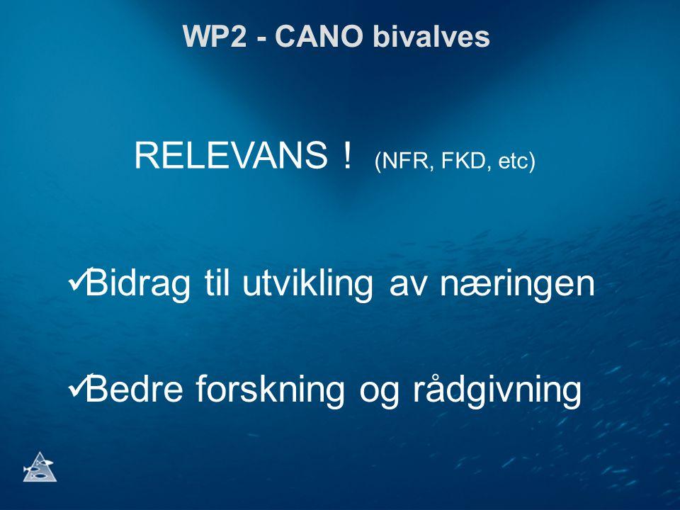 WP2 - CANO bivalves Bidrag til utvikling av næringen Bedre forskning og rådgivning RELEVANS ! (NFR, FKD, etc)
