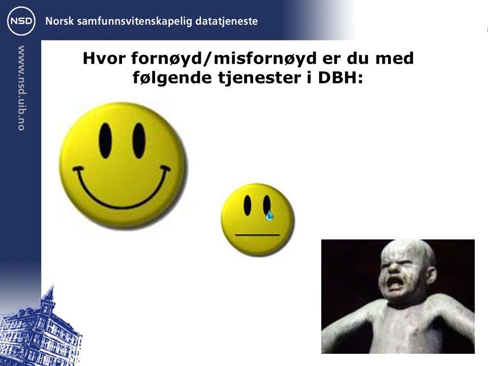 Hvor fornøyd/misfornøyd er du med følgende tjenester i DBH: