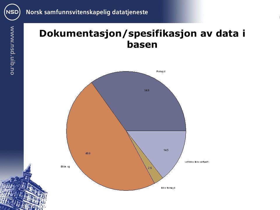 Dokumentasjon/spesifikasjon av data i basen