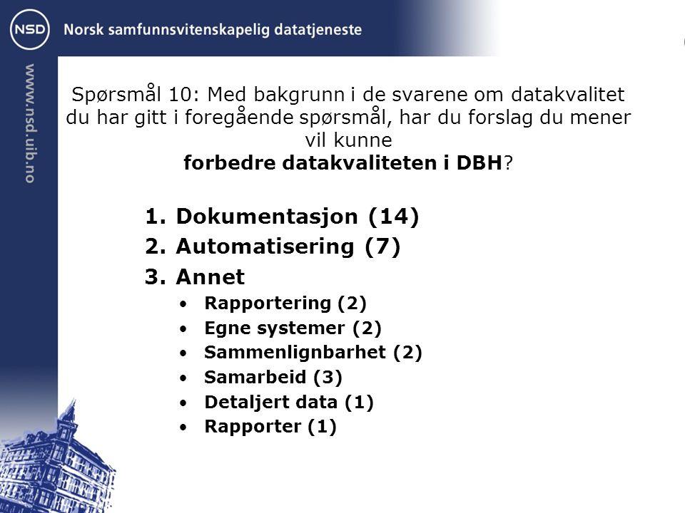 Spørsmål 10: Med bakgrunn i de svarene om datakvalitet du har gitt i foregående spørsmål, har du forslag du mener vil kunne forbedre datakvaliteten i DBH.