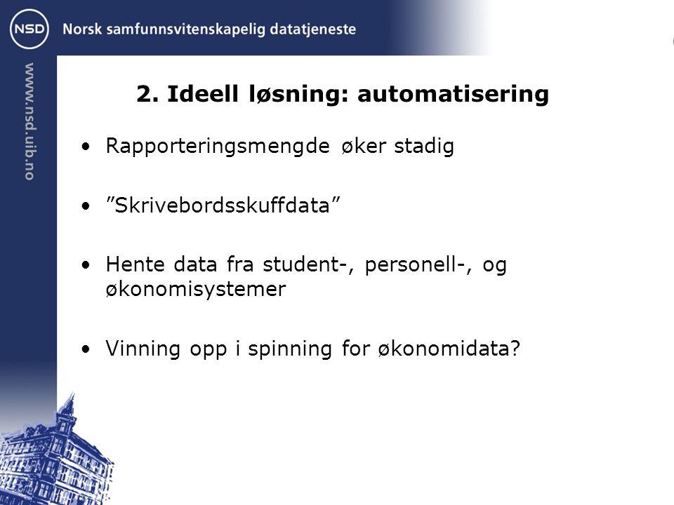 """2. Ideell løsning: automatisering Rapporteringsmengde øker stadig """"Skrivebordsskuffdata"""" Hente data fra student-, personell-, og økonomisystemer Vinni"""