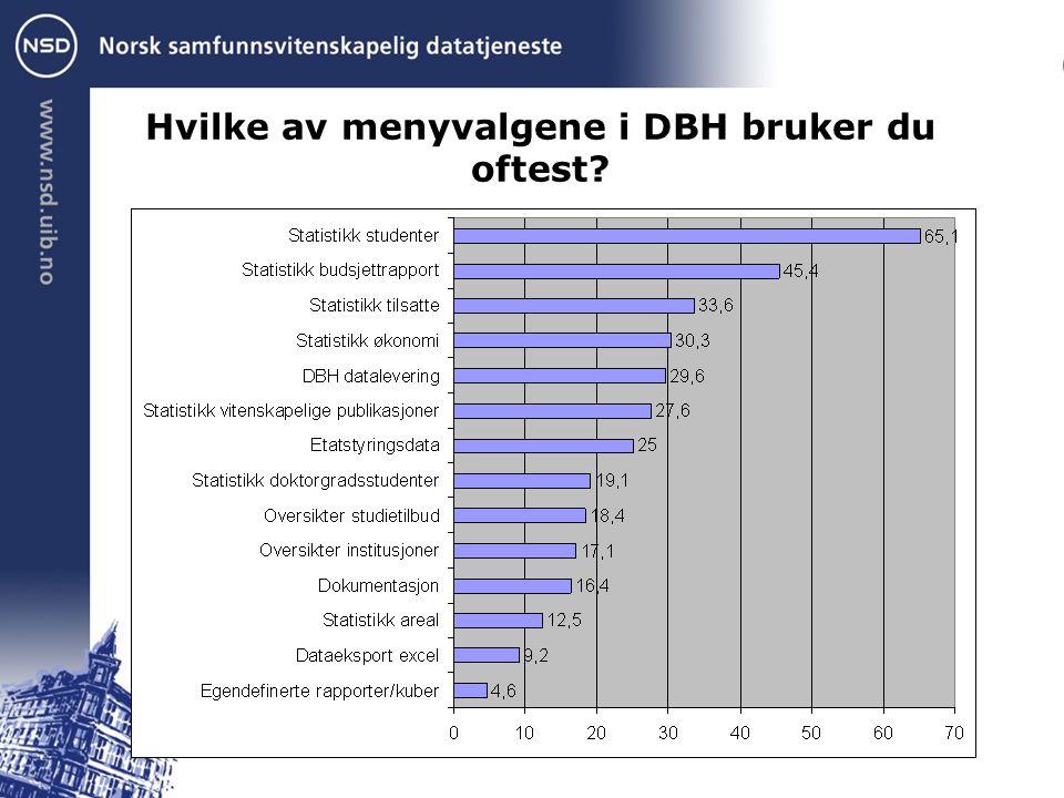 DBH inneholder i dag muligheter for ordinære uttak av data og i tillegg noen andre muligheter for analyse av data.