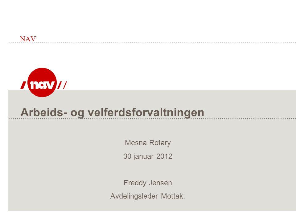 Arbeids- og velferdsforvaltningen NAV Mesna Rotary 30 januar 2012 Freddy Jensen Avdelingsleder Mottak.