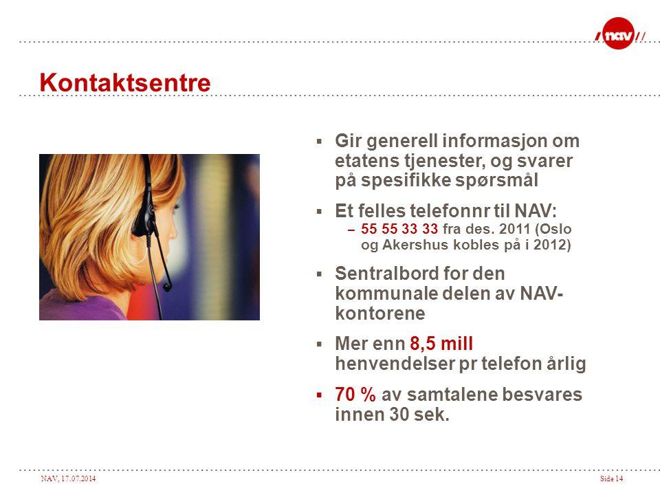 NAV, 17.07.2014Side 14 Kontaktsentre  Gir generell informasjon om etatens tjenester, og svarer på spesifikke spørsmål  Et felles telefonnr til NAV: