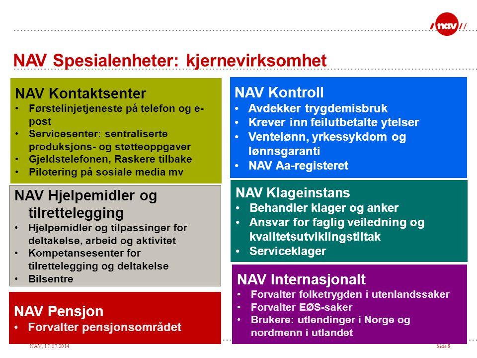 NAV, 17.07.2014Side 8 NAV Hjelpemidler og tilrettelegging Hjelpemidler og tilpassinger for deltakelse, arbeid og aktivitet Kompetansesenter for tilret