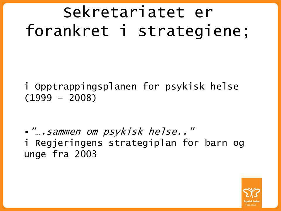 """ALLE HAR EN PSYKISK HELSE Sekretariatet er forankret i strategiene; i Opptrappingsplanen for psykisk helse (1999 – 2008) """"….sammen om psykisk helse.."""""""
