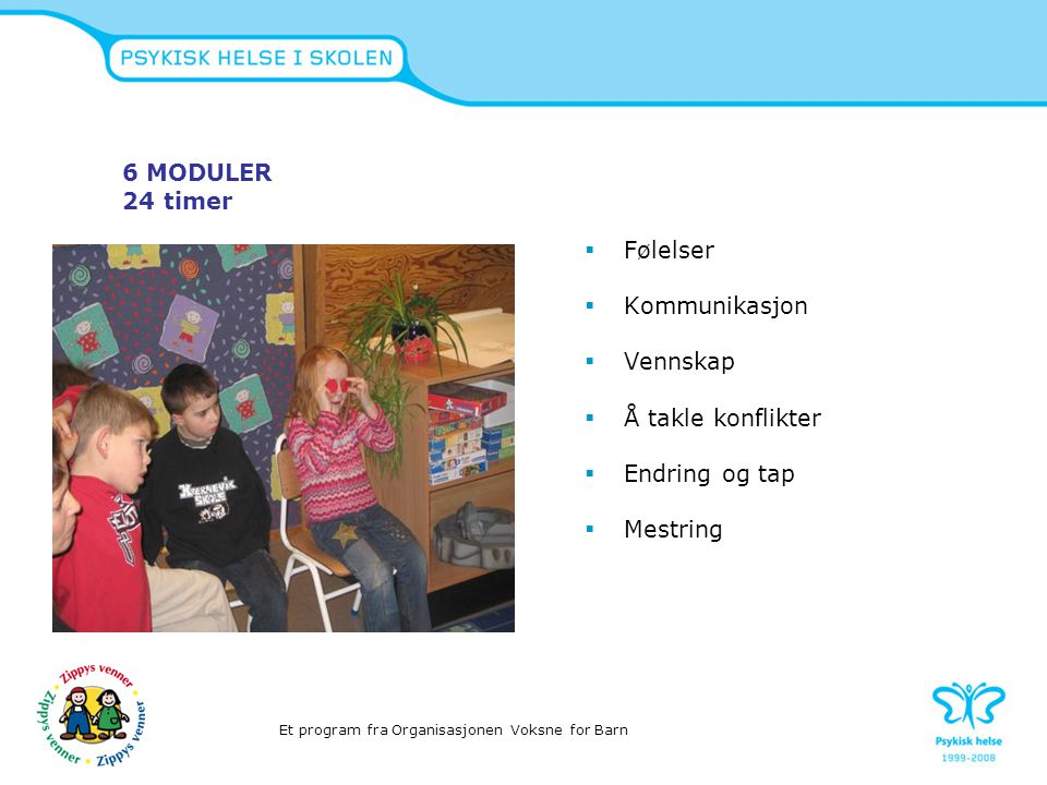 Zippy´s Friends til Norge 2004  Voksne for Barn lisens og ansvar for programmet i Norge www.vfb.no  Psykisk helse i skolen 2007  Finansiert av Helsedirektoratet  462 skoler i 2009/2010 Et program fra Organisasjonen Voksne for Barn