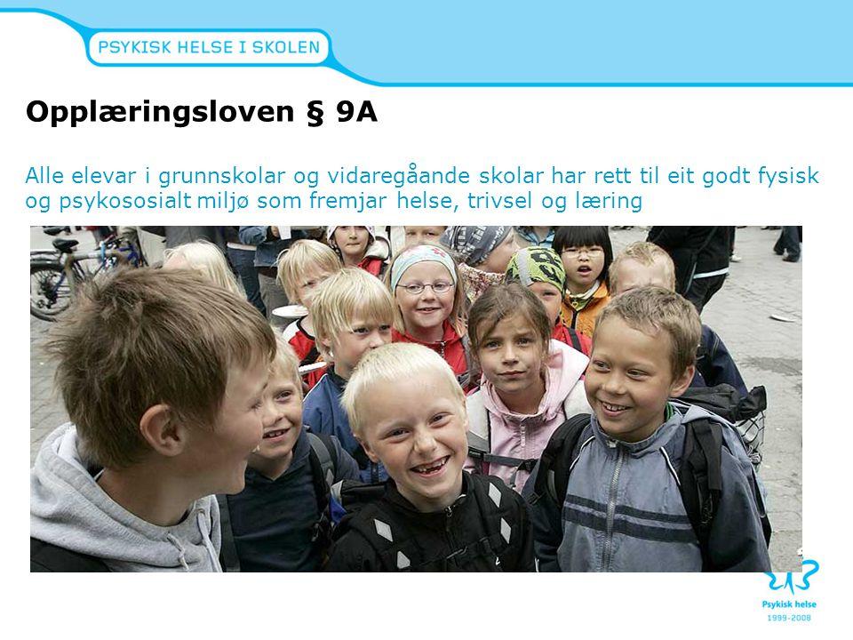 Opplæringsloven § 9A Alle elevar i grunnskolar og vidaregåande skolar har rett til eit godt fysisk og psykososialt miljø som fremjar helse, trivsel og