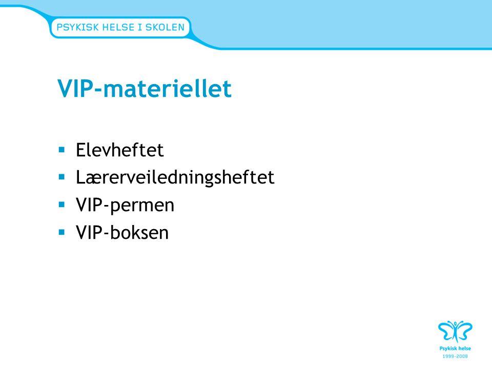 VIP-materiellet  Elevheftet  Lærerveiledningsheftet  VIP-permen  VIP-boksen