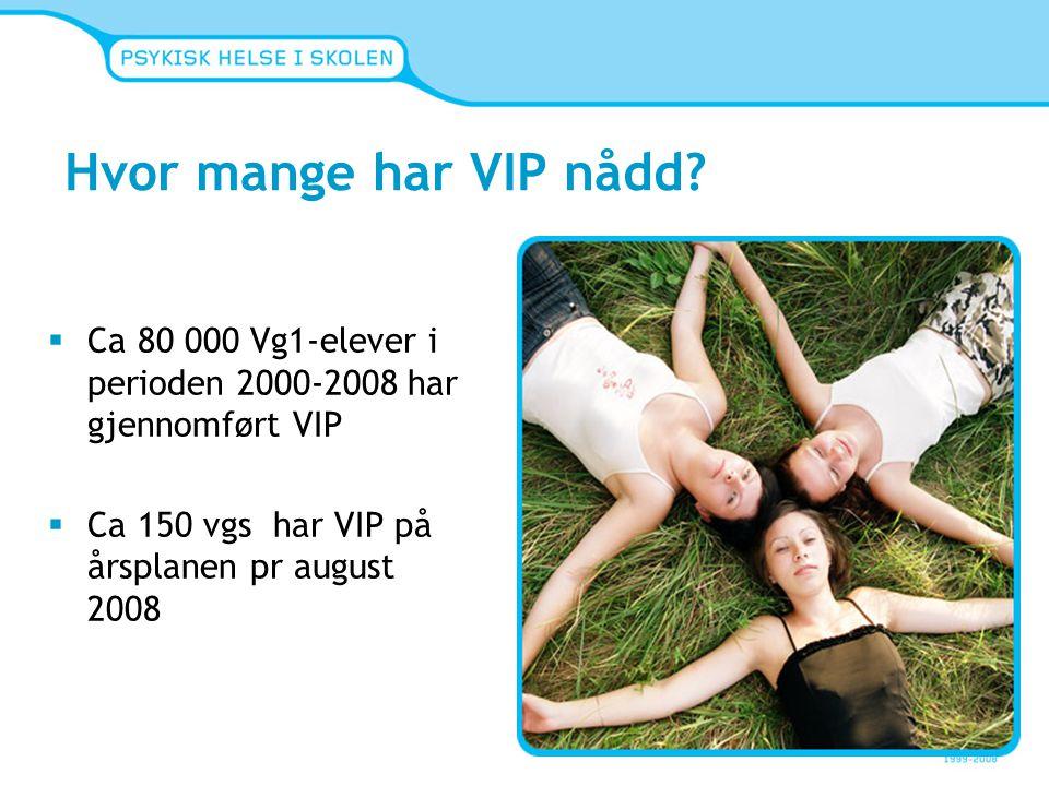 Hvor mange har VIP nådd?  Ca 80 000 Vg1-elever i perioden 2000-2008 har gjennomført VIP  Ca 150 vgs har VIP på årsplanen pr august 2008