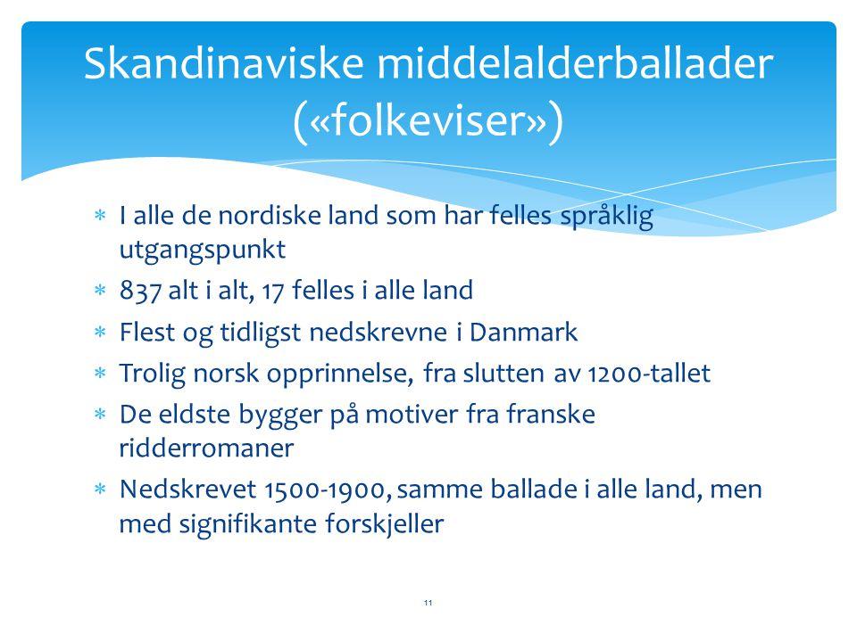  I alle de nordiske land som har felles språklig utgangspunkt  837 alt i alt, 17 felles i alle land  Flest og tidligst nedskrevne i Danmark  Troli