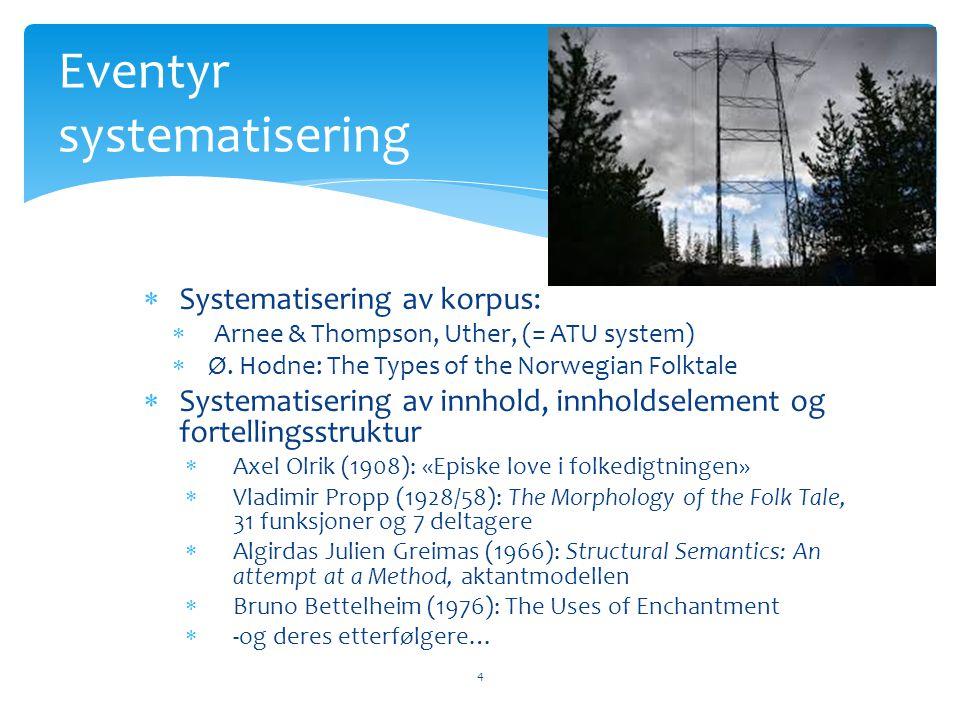 Systematisering av korpus:  Arnee & Thompson, Uther, (= ATU system)  Ø. Hodne: The Types of the Norwegian Folktale  Systematisering av innhold, i