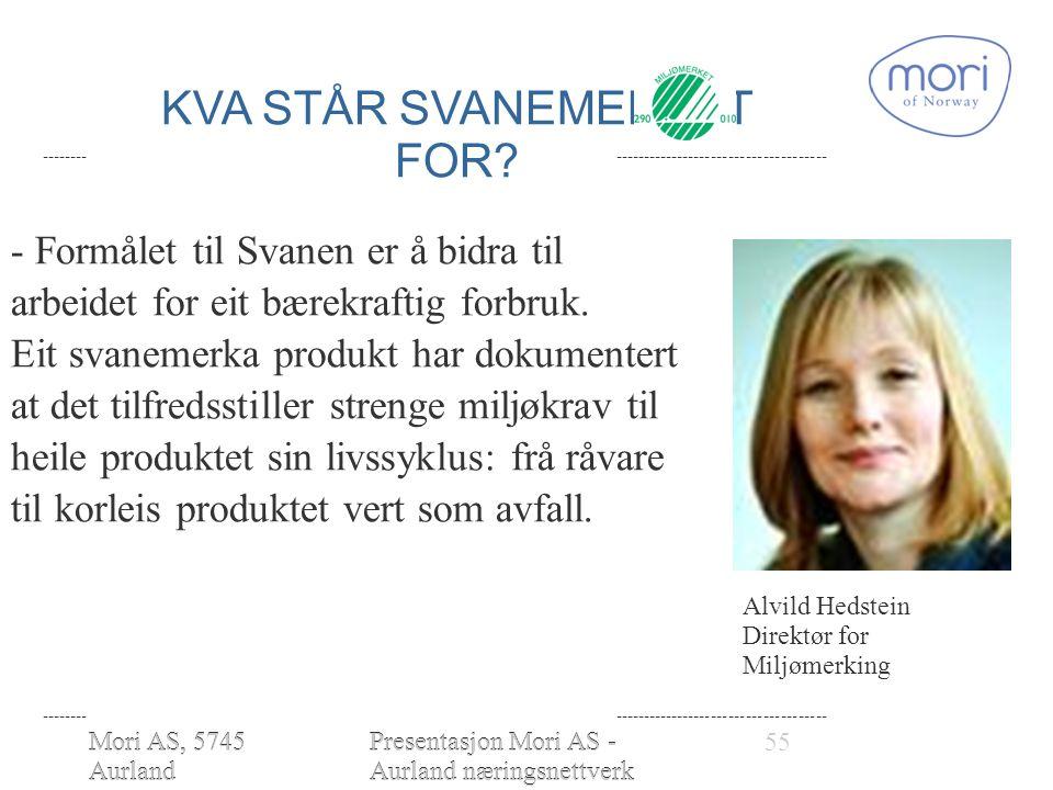 Mori AS, 5745 Aurland www.moriofnorw ay.com Presentasjon Mori AS - Aurland næringsnettverk 28.01.2010 - Formålet til Svanen er å bidra til arbeidet for eit bærekraftig forbruk.