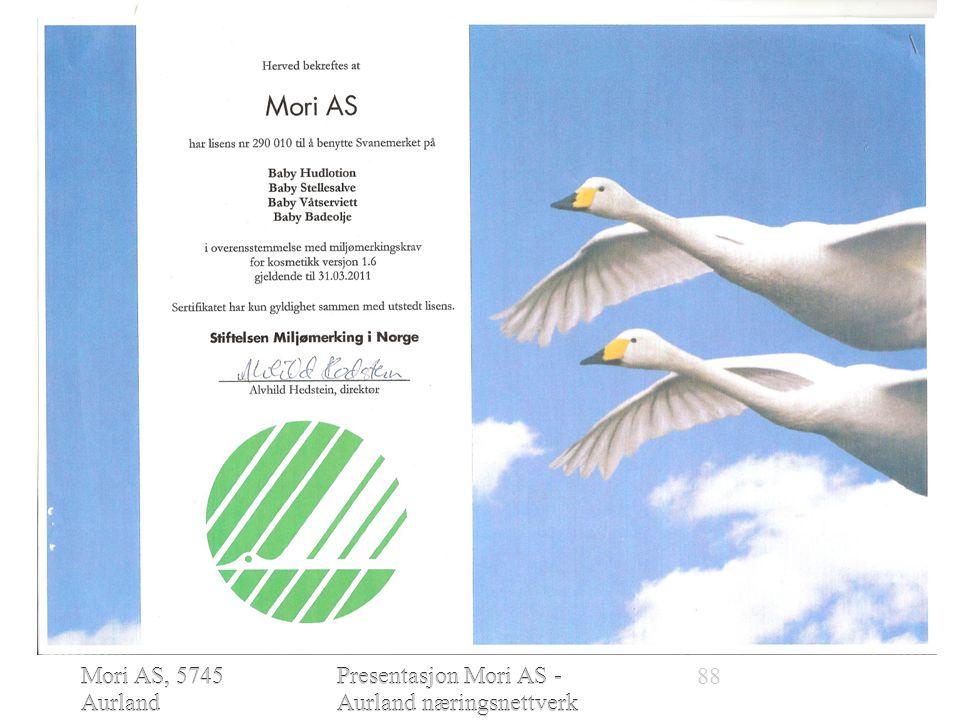 Mori AS, 5745 Aurland www.moriofnorw ay.com Presentasjon Mori AS - Aurland næringsnettverk 28.01.2010  Mori AS stifta i 2005  Miljømerkingslisens i 2006  Fyrste produksjon i 2007 Mori AS, 5745 Aurland www.moriofnorway.co m 88Presentasjon Mori AS - Aurland næringsnettverk 28.01.2010 -------- -------------------------------------