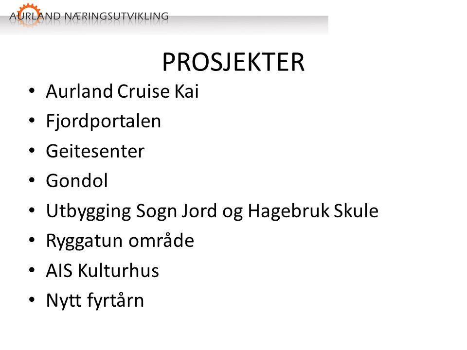 PROSJEKTER Aurland Cruise Kai Fjordportalen Geitesenter Gondol Utbygging Sogn Jord og Hagebruk Skule Ryggatun område AIS Kulturhus Nytt fyrtårn