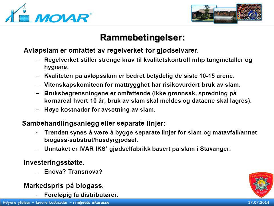 MOVAR IKS Høyere ytelser – lavere kostnader – i mljøets tjeneste17. juli 2014 Høyere ytelser – lavere kostnader – i miljøets interesse 17.07.2014 Ramm