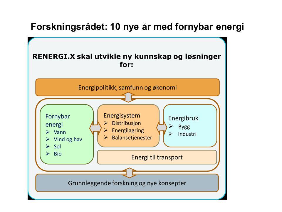 Forskningsrådet: 10 nye år med fornybar energi