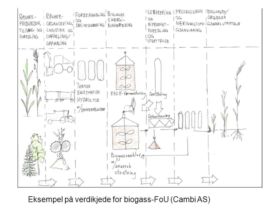 VISJON Eksempel på verdikjede for biogass-FoU (Cambi AS)