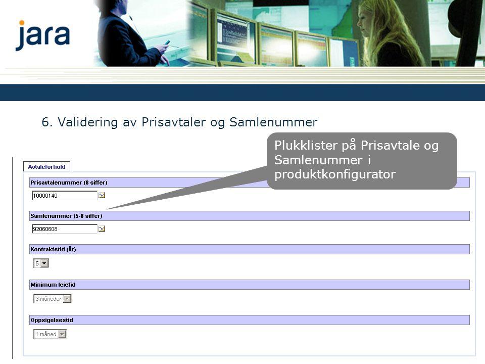6. Validering av Prisavtaler og Samlenummer Plukklister på Prisavtale og Samlenummer i produktkonfigurator