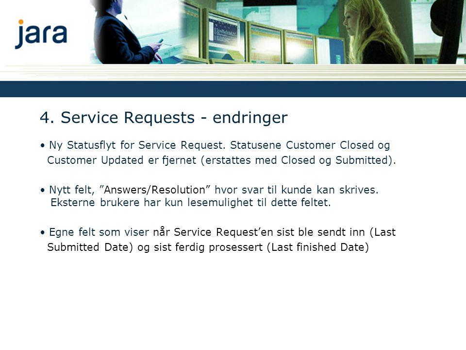 4. Service Requests - endringer Ny Statusflyt for Service Request.