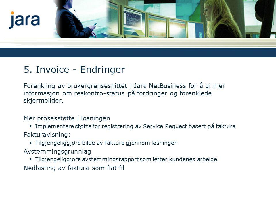 5. Invoice - Endringer Forenkling av brukergrensesnittet i Jara NetBusiness for å gi mer informasjon om reskontro-status på fordringer og forenklede s
