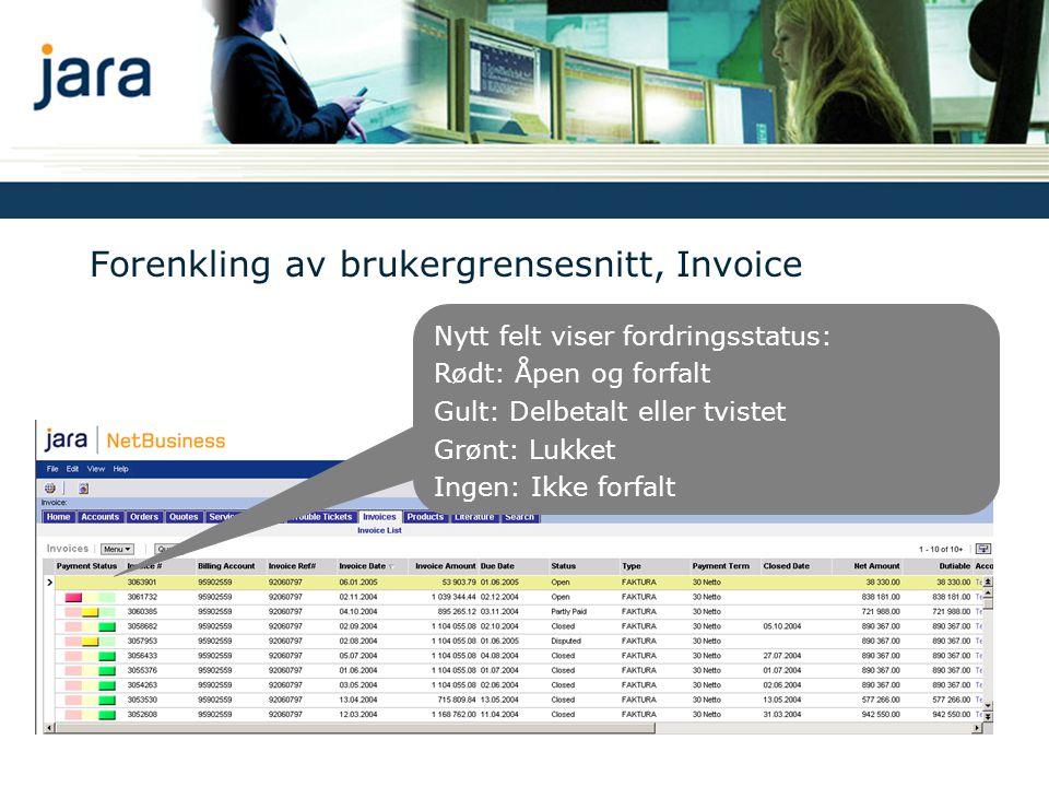 Forenkling av brukergrensesnitt, Invoice Nytt felt viser fordringsstatus: Rødt: Åpen og forfalt Gult: Delbetalt eller tvistet Grønt: Lukket Ingen: Ikke forfalt