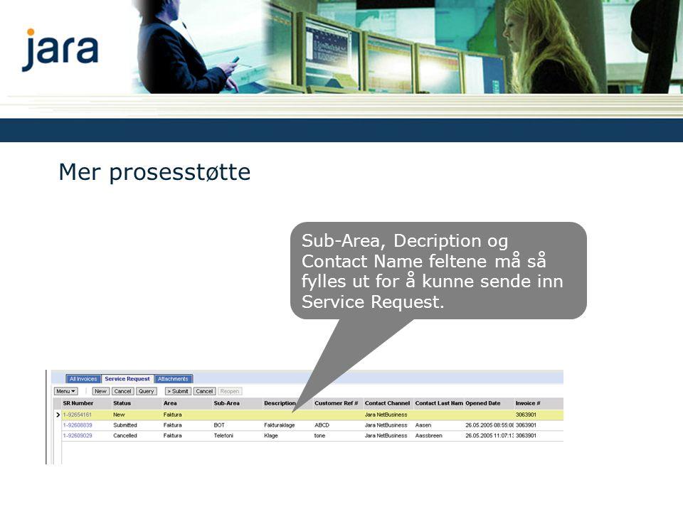 Mer prosesstøtte Sub-Area, Decription og Contact Name feltene må så fylles ut for å kunne sende inn Service Request.