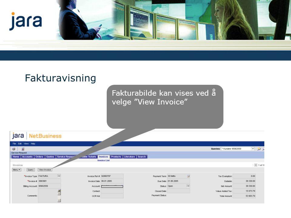 Fakturavisning Fakturabilde kan vises ved å velge View Invoice