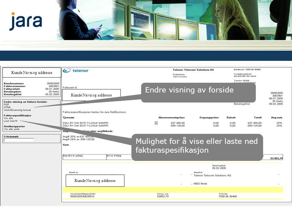 Fakturavisning Kunde Navn og addresse Mulighet for å vise eller laste ned fakturaspesifikasjon Endre visning av forside